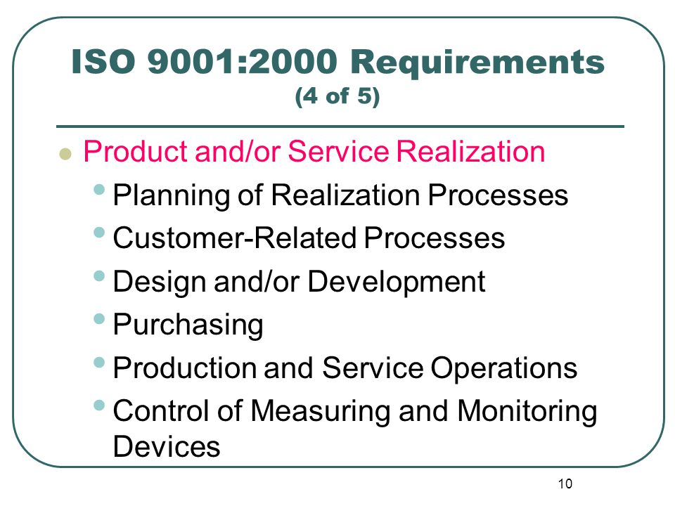 ISO 9001:2000 Requirements (4 of 5)
