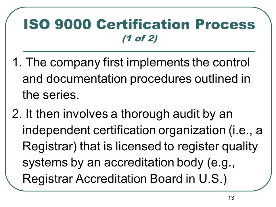 ISO 9000 Certification Process (1 of 2)