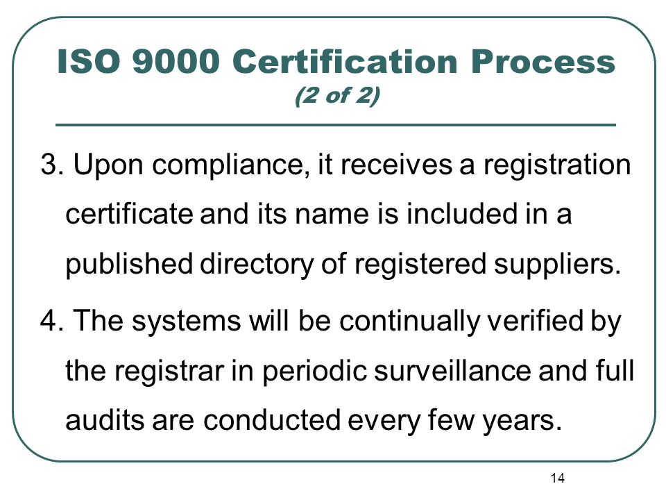 ISO 9000 Certification Process (2 of 2)