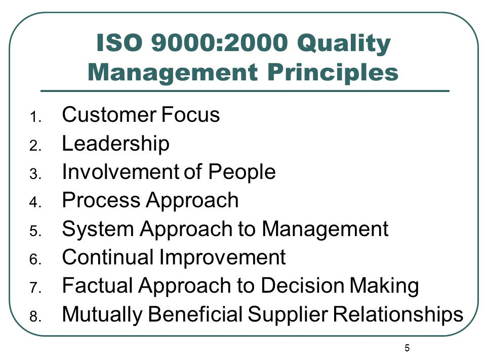 ISO 9000:2000 Quality Management Principles