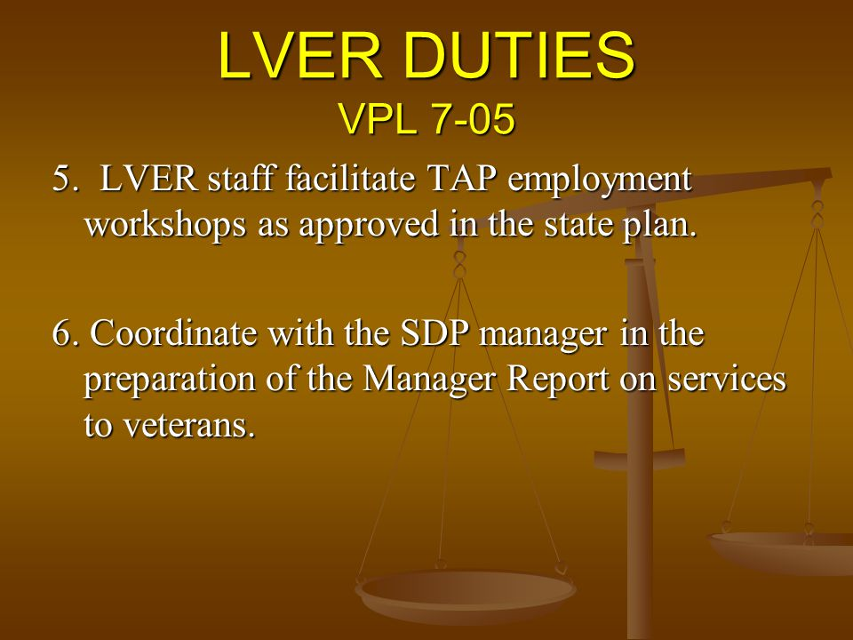 LVER DUTIES VPL LVER staff facilitate TAP employment workshops as approved in the state plan.