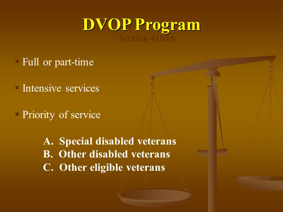 DVOP Program Full or part-time Intensive services Priority of service