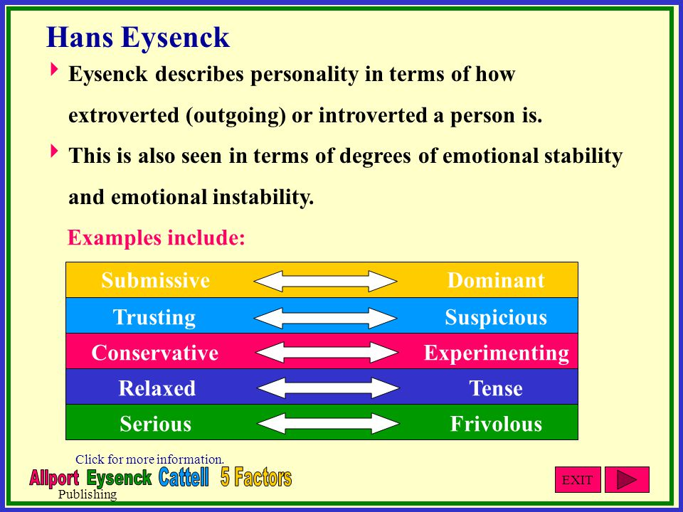 describe theories relating to personality and N raymond cattell and hans eysenck proposed traits as descriptors that we use to describe personality and that have their origins in everyday language n biological theories of personality attempt to explain differences in behaviour in terms of differences in physiology.