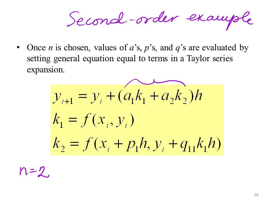 Once n is chosen, values of a's, p's, and q's are evaluated by setting general equation equal to terms in a Taylor series expansion.
