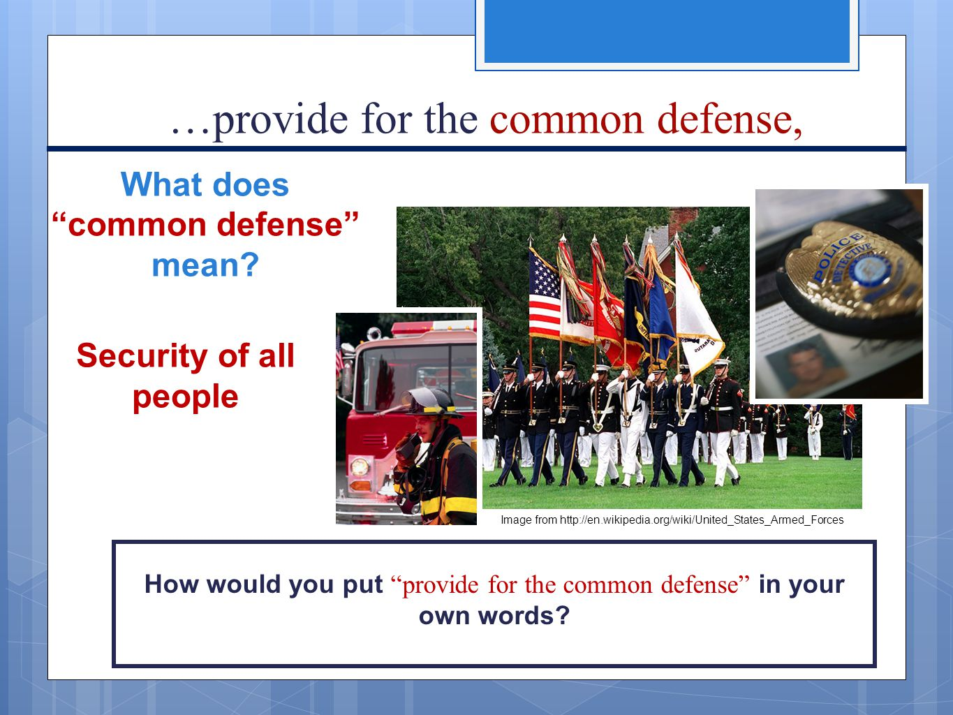 What does common defense mean