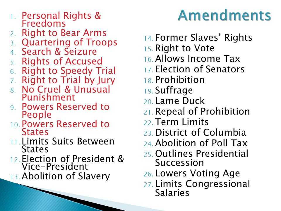 Amendments Personal Rights & Freedoms Right to Bear Arms