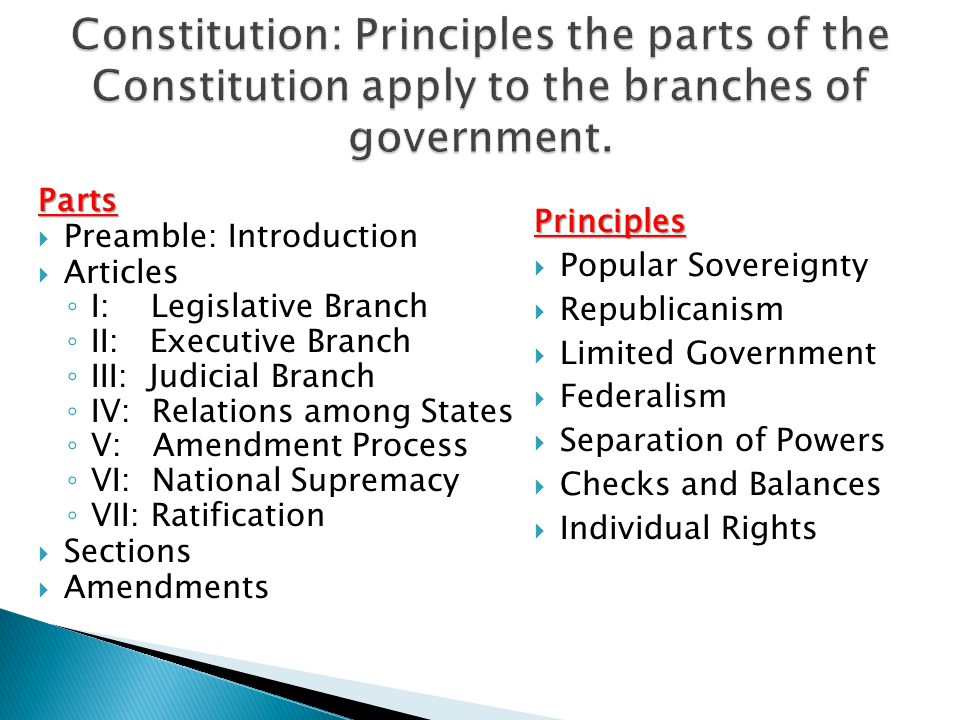 Constitution: Principles the parts of the Constitution apply to the branches of government.