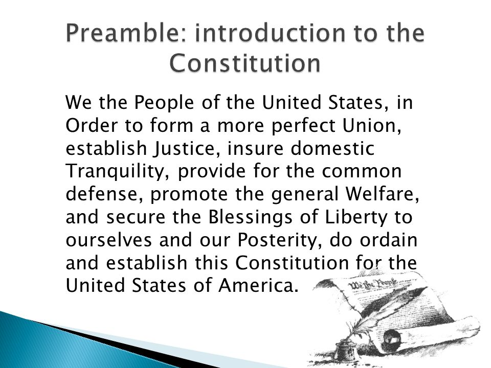 Preamble: introduction to the Constitution