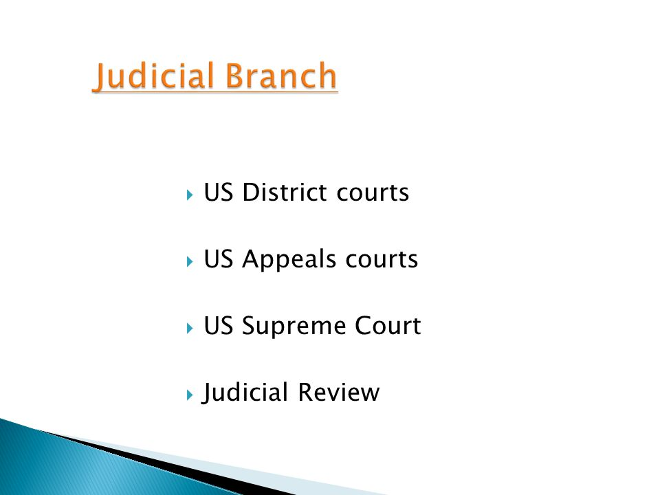 Judicial Branch US District courts US Appeals courts US Supreme Court