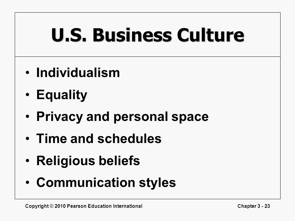 U.S. Business Culture Individualism Equality