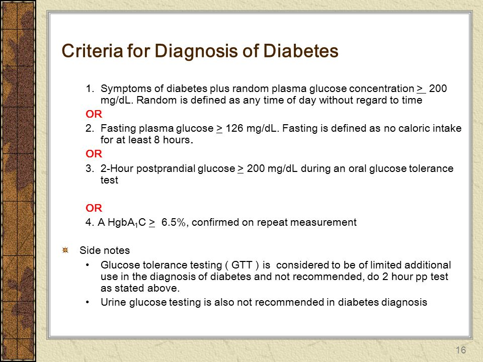Criteria for Diagnosis of Diabetes