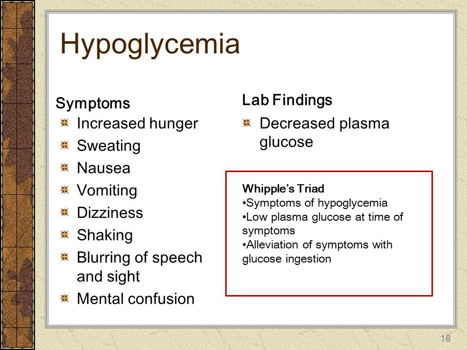 Hypoglycemia Lab Findings Symptoms Increased hunger Sweating Nausea