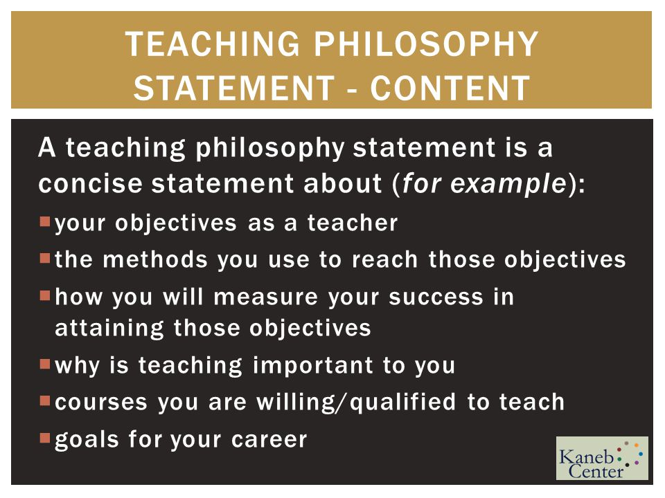 teaching philosophy example