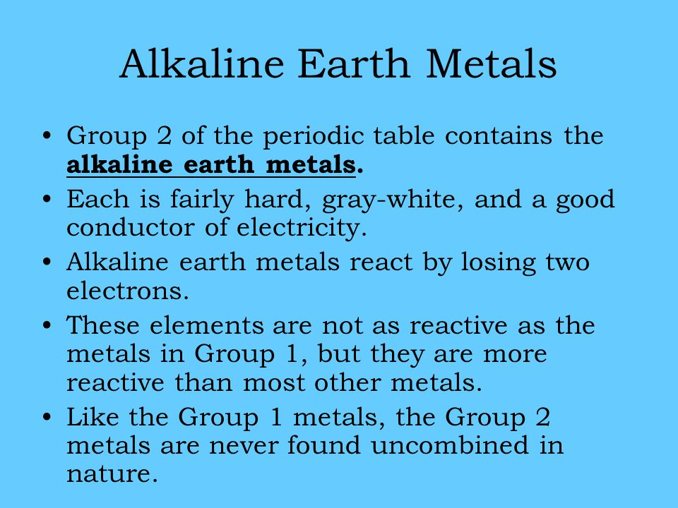 reaction alkali metals and alkaline earth metals essay At the end of the article, you will be able to describe – what are alkaline earth metals, definition, alkaline earth metals properties, periodic table and what are the characteristics of alkaline earth metals properties- physical, chemical.