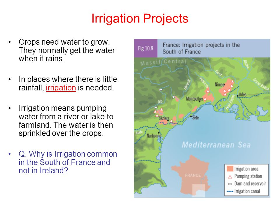 Irrigation Projects Crops need water to grow. They normally get the water when it rains.