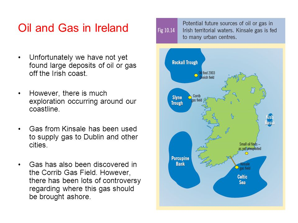 Oil and Gas in Ireland Unfortunately we have not yet found large deposits of oil or gas off the Irish coast.