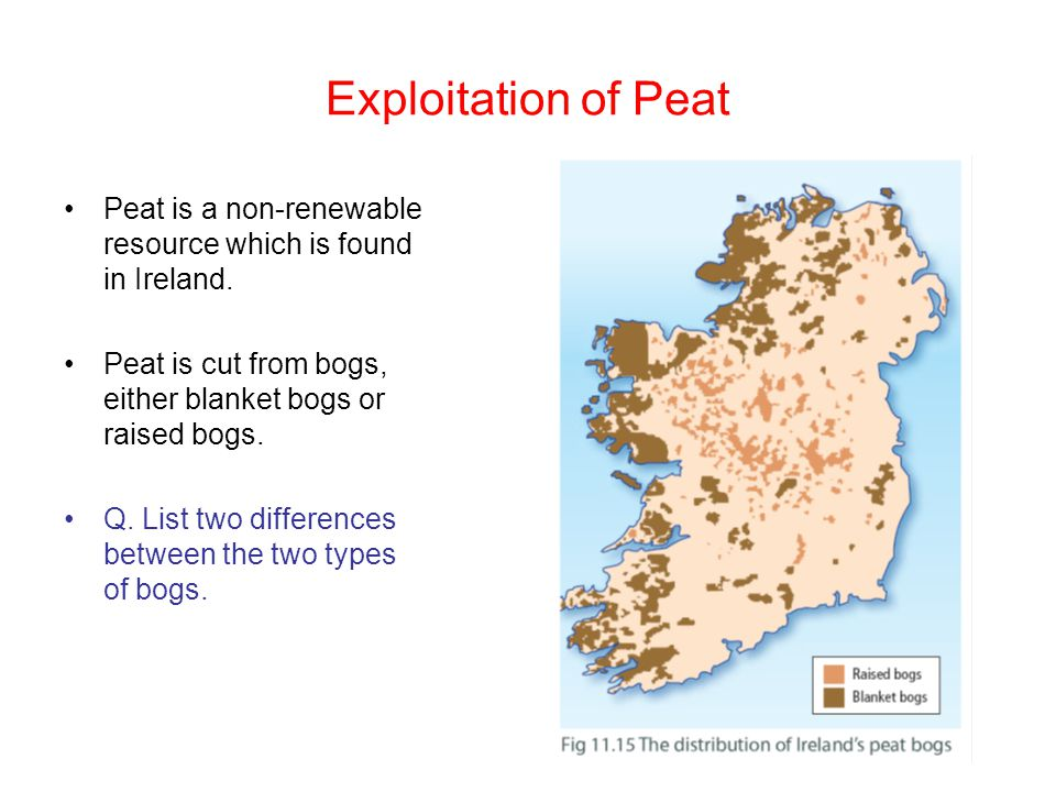 Exploitation of Peat Peat is a non-renewable resource which is found in Ireland. Peat is cut from bogs, either blanket bogs or raised bogs.