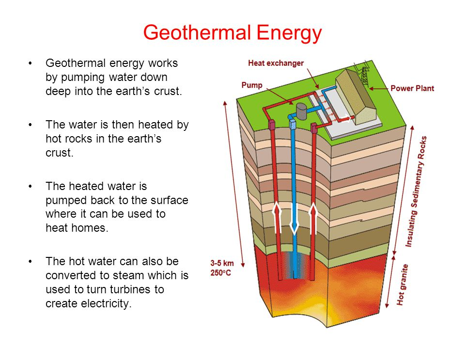 Geothermal Energy Geothermal energy works by pumping water down deep into the earth's crust.