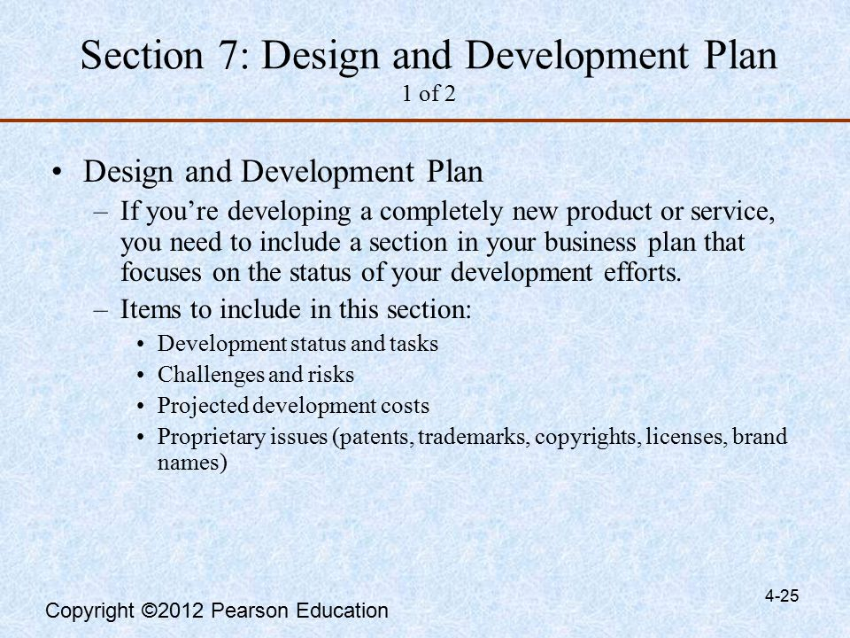 development status and tasks in a business plan
