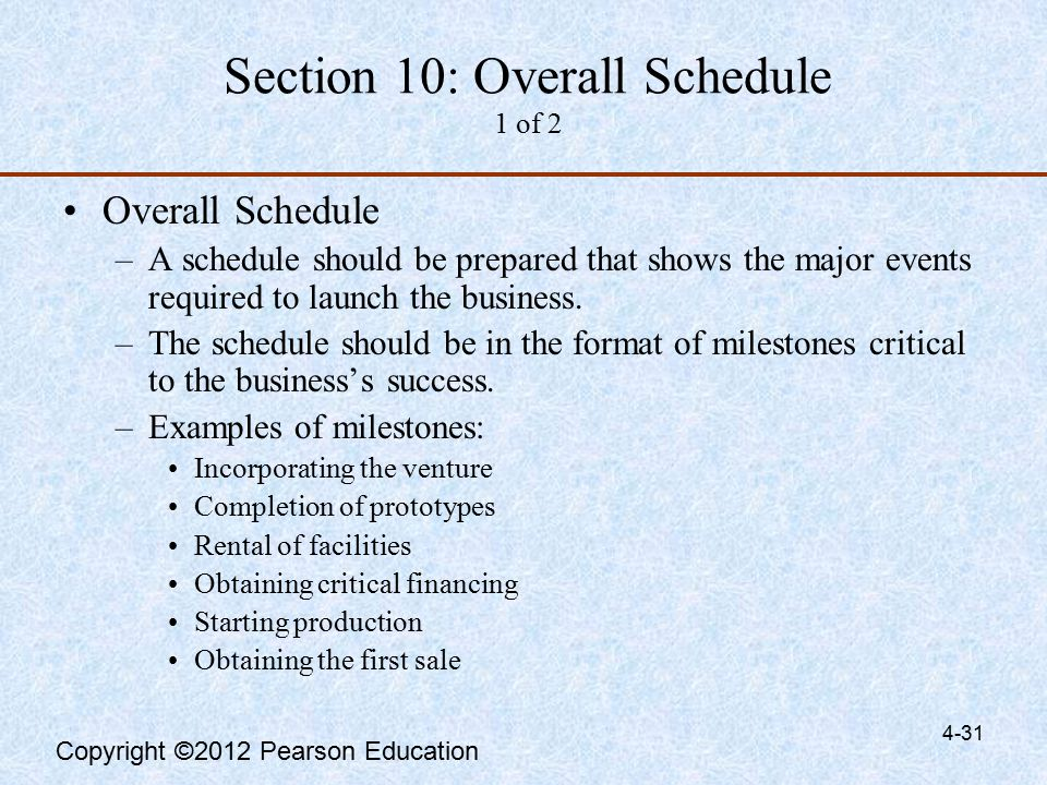 Overall Schedule Business Plan Sample