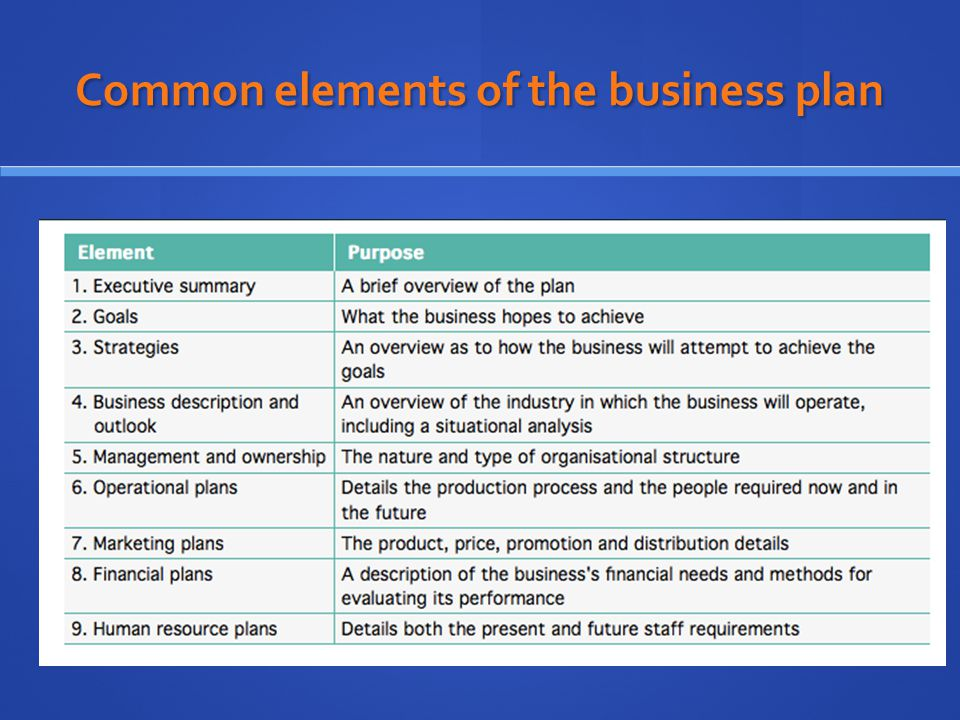Business Plan Elements Elements Of Business Plan Powerpoint Slides