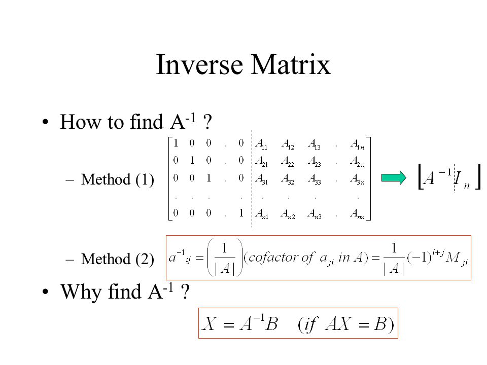 Inverse Matrix How to find A-1 Method (1) Method (2) Why find A-1
