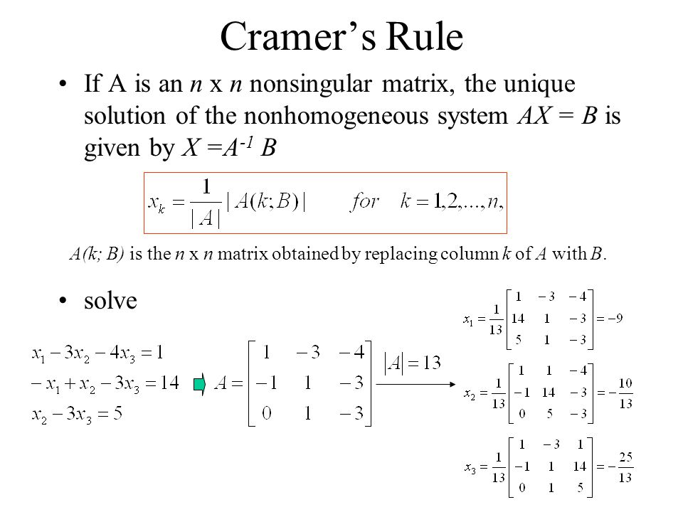 Cramer's Rule If A is an n x n nonsingular matrix, the unique solution of the nonhomogeneous system AX = B is given by X =A-1 B.