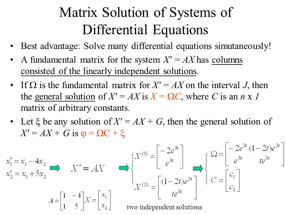 Matrix Solution of Systems of Differential Equations