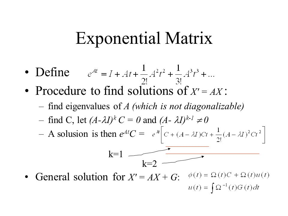 Exponential Matrix Define Procedure to find solutions of X = AX :