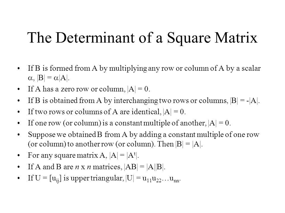 The Determinant of a Square Matrix