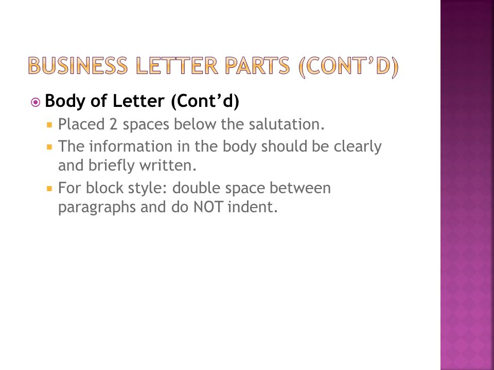 Business Letter Notes Mrs. Cook. - Ppt Download
