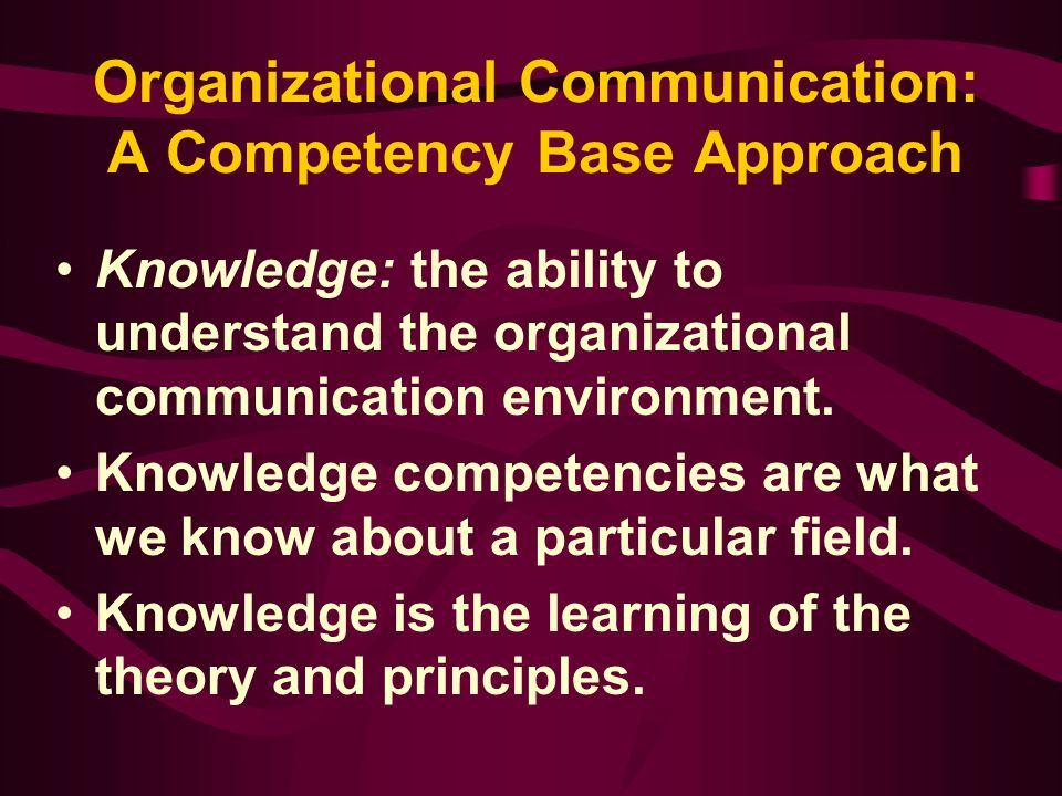 Organizational Communication: A Competency Base Approach