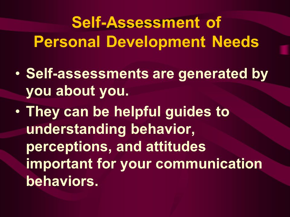 Self-Assessment of Personal Development Needs