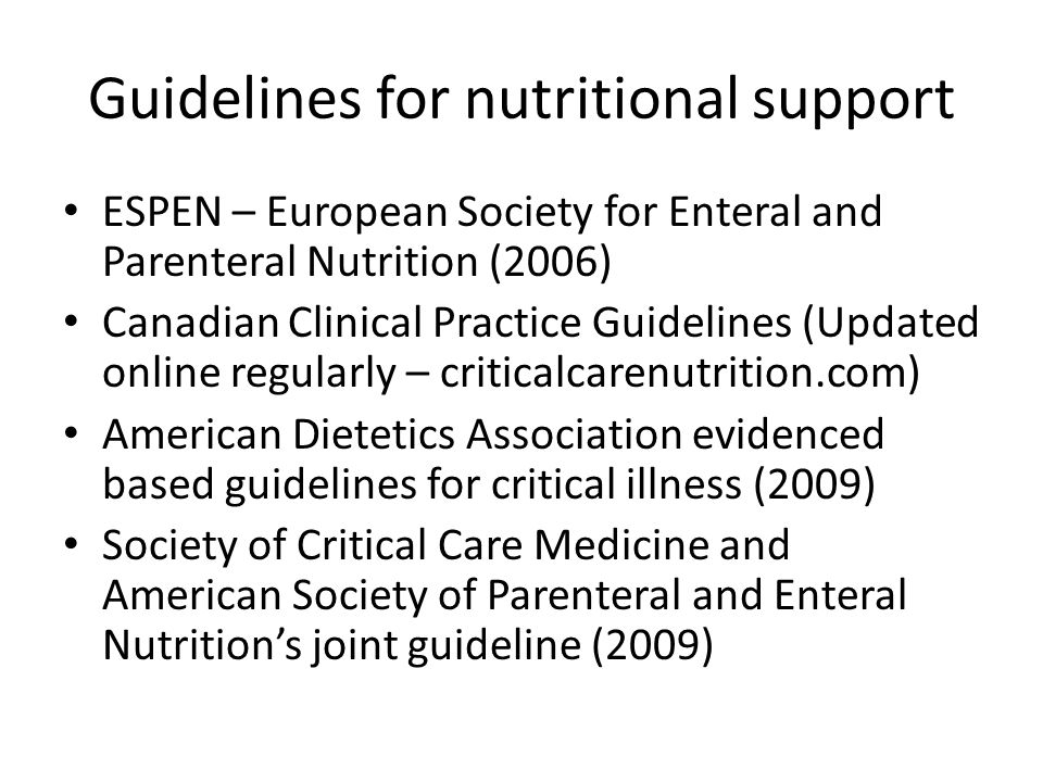 enteral and parenteral nutrition in the critical care setting Acutely ill patients often require nutrition support when managed in a critical care setting this can take the form of enteral nutrition (en) or parenteral nutrition (pn) when a diet cannot be tolerated or is impractical.