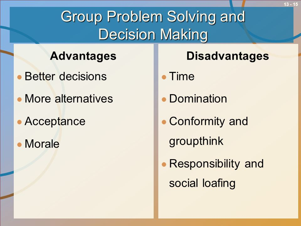 issues of group decision making commerce essay A mobile decision support system for dynamic group decision making problems custom essay decision support system for dynamic group decision making problems.