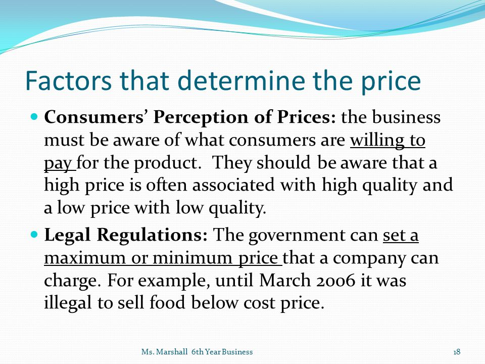Factors that determine the price