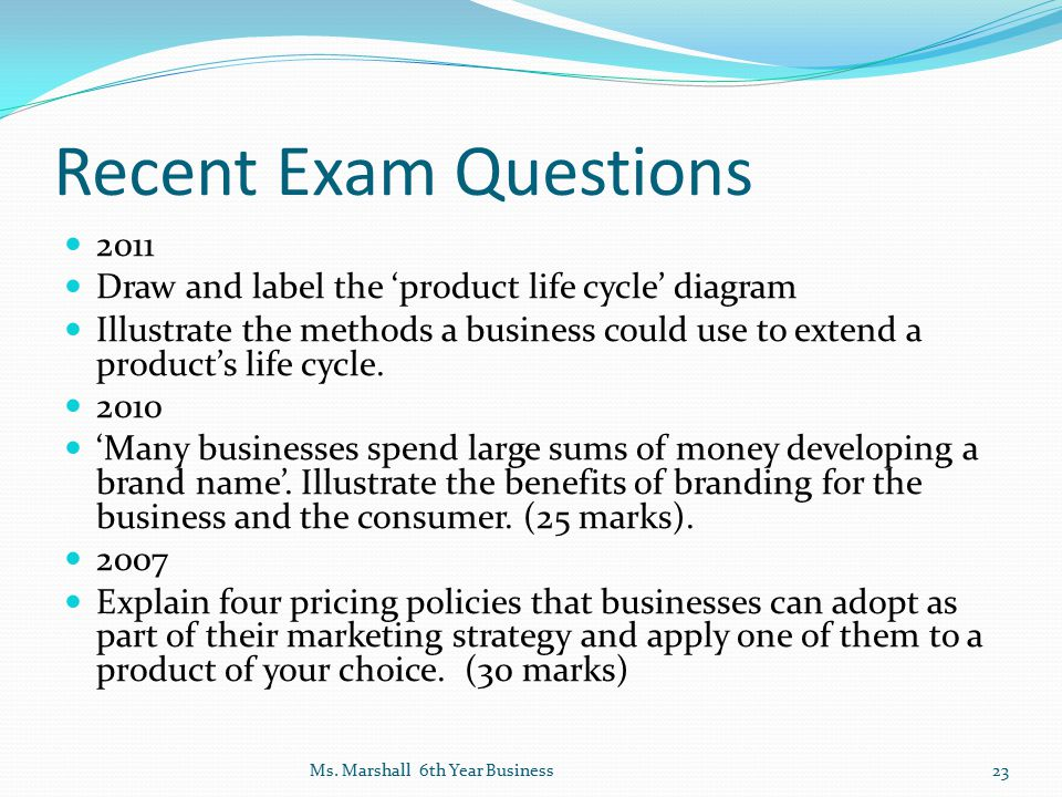 Recent Exam Questions 2011. Draw and label the 'product life cycle' diagram.