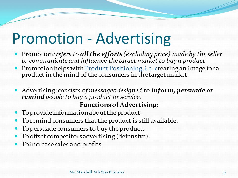 Promotion - Advertising