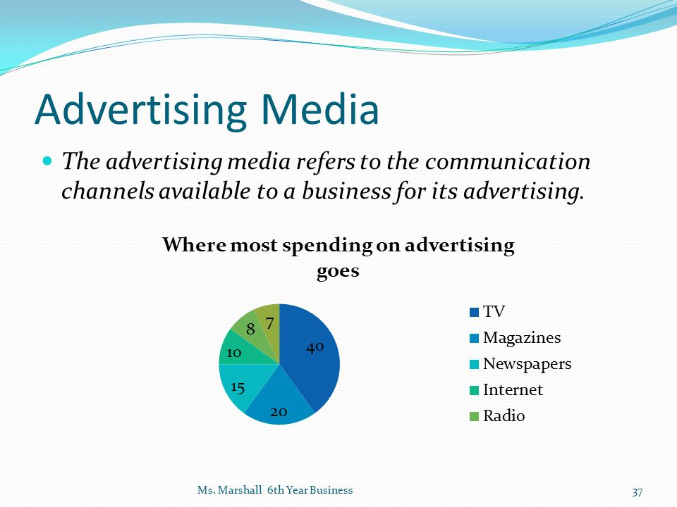 Advertising Media The advertising media refers to the communication channels available to a business for its advertising.