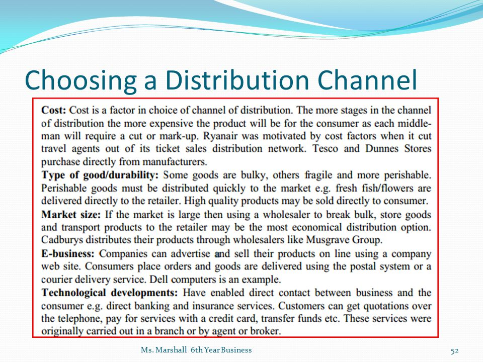 Choosing a Distribution Channel