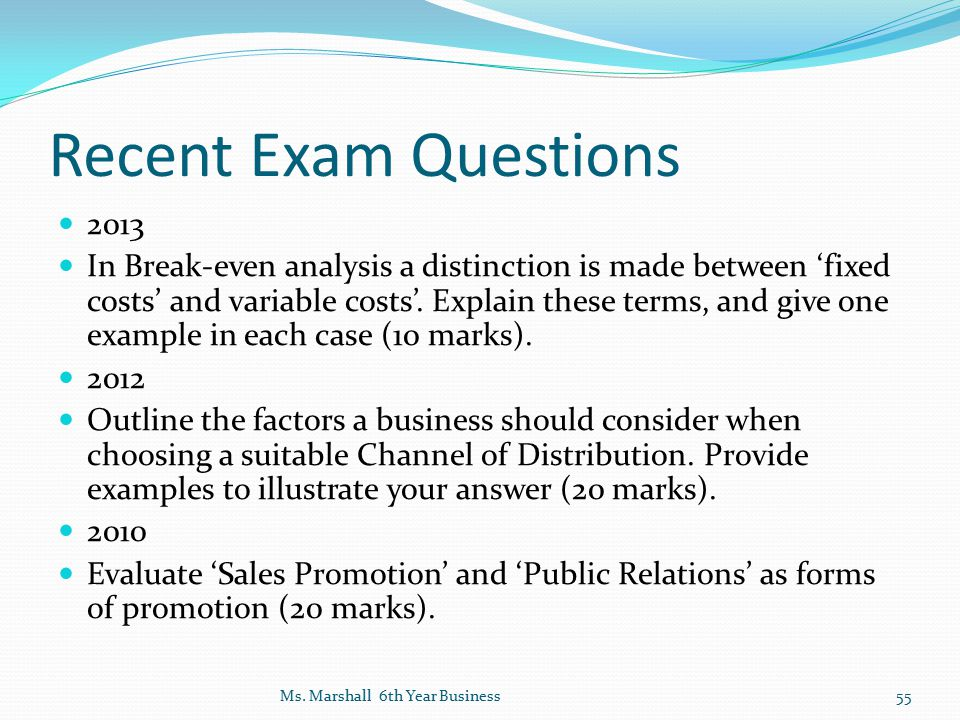Recent Exam Questions 2013.
