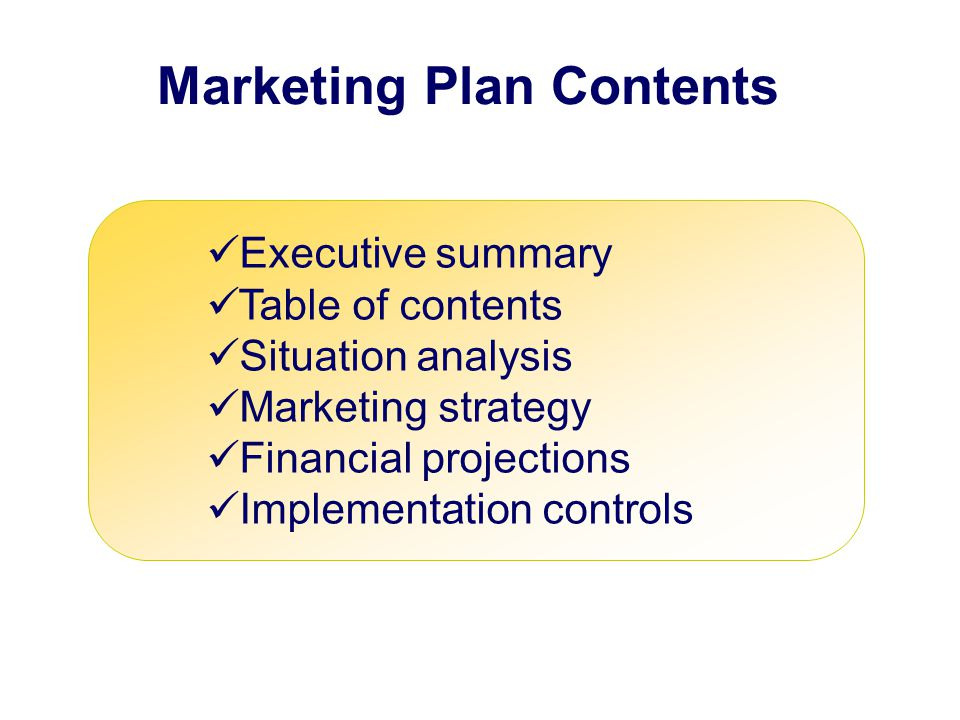 Marketing Plan Contents