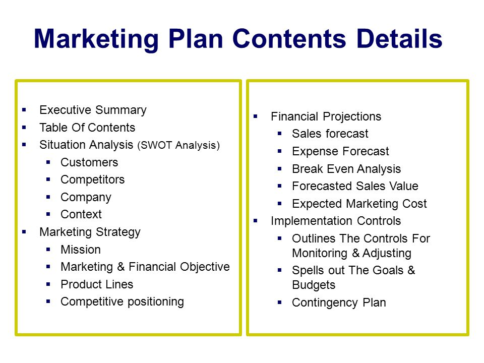 Marketing Plan Contents Details