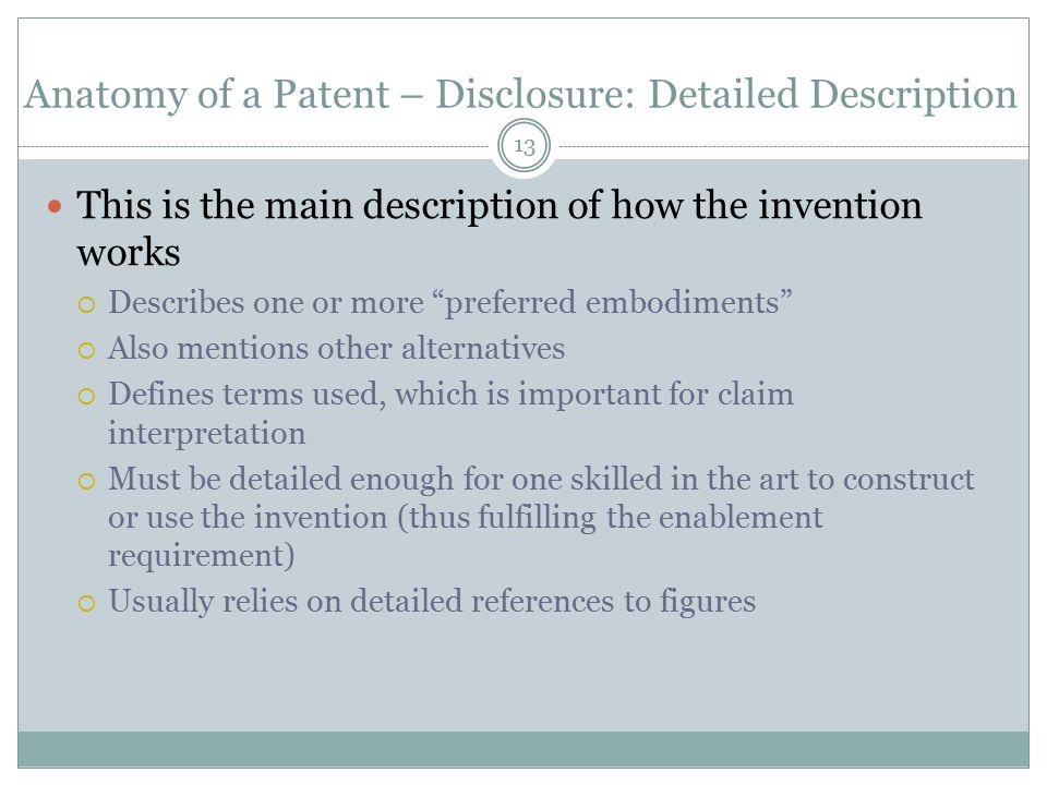 Anatomy of a Patent – Disclosure: Detailed Description
