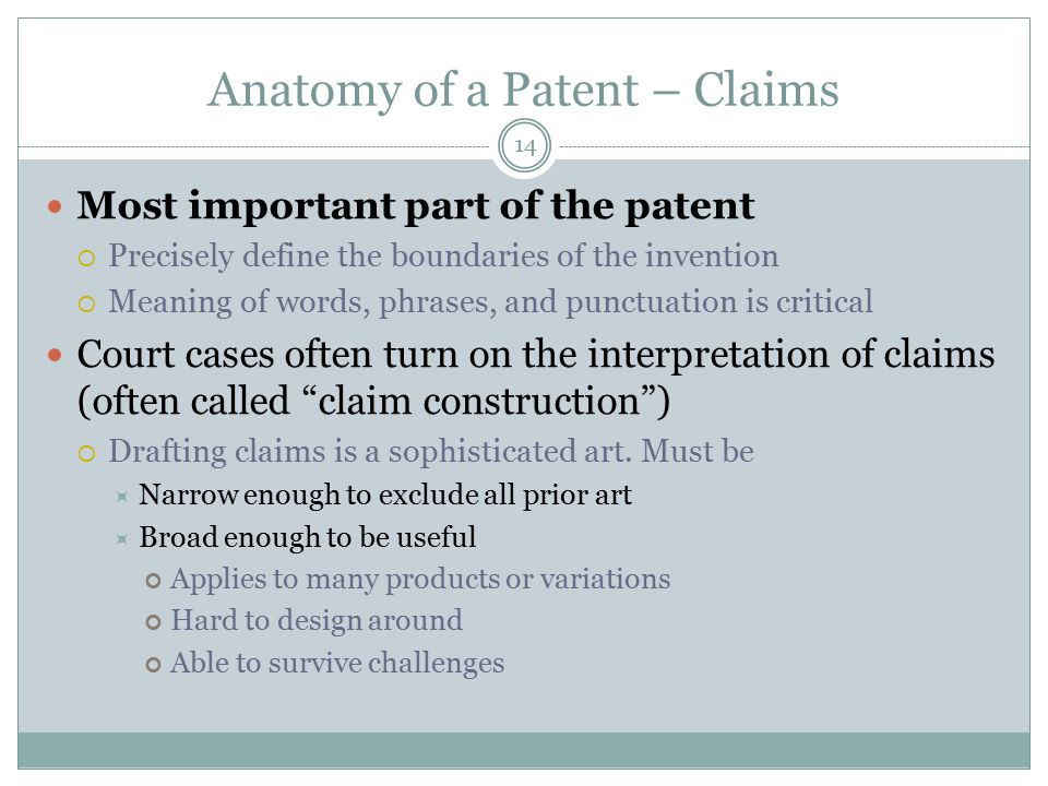 Anatomy of a Patent – Claims