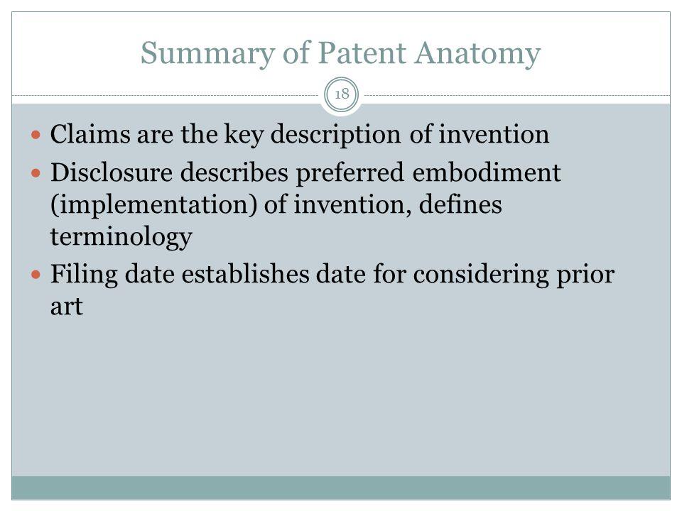 Summary of Patent Anatomy