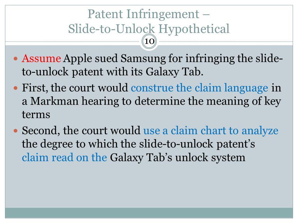 Patent Infringement – Slide-to-Unlock Hypothetical