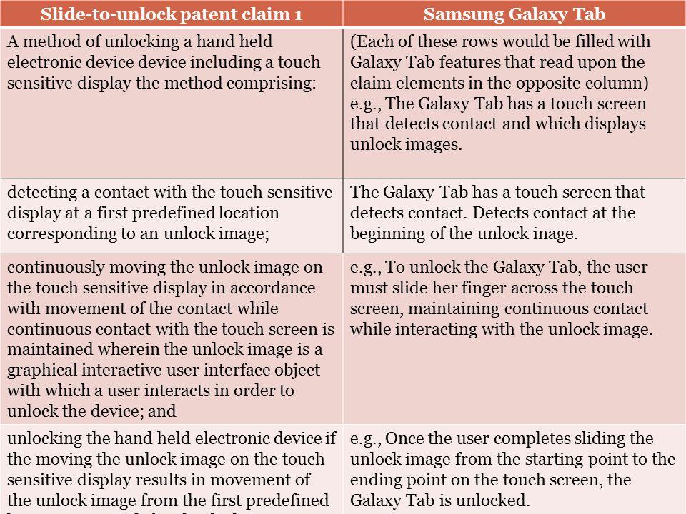 Slide-to-unlock patent claim 1