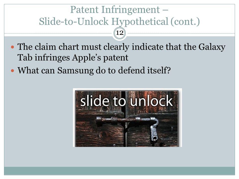Patent Infringement – Slide-to-Unlock Hypothetical (cont.)