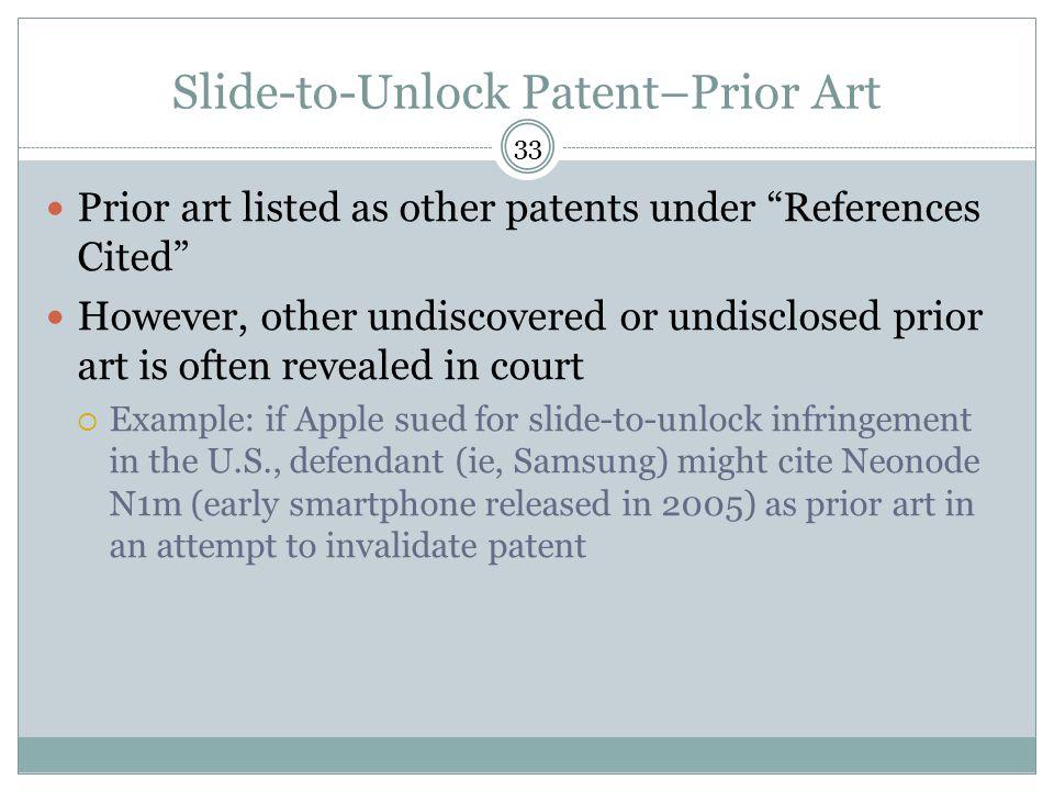 Slide-to-Unlock Patent–Prior Art